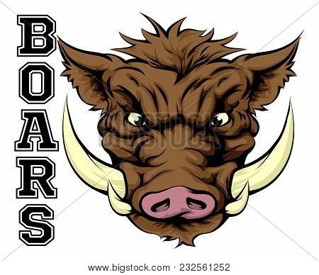 An Illustration Of A Boar Sports Mascot Head With The Word Boars