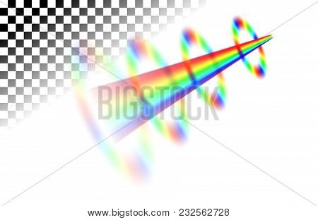 Flying-up Rainbow With Round Stains Translucent Lines On The White Transparent Background. Realistic