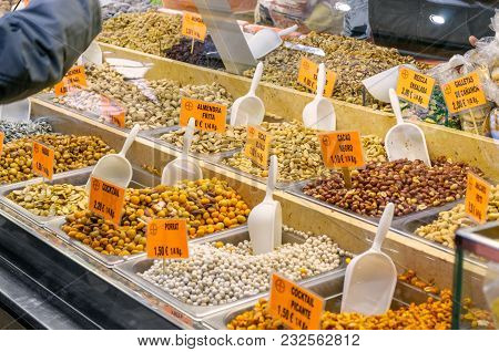 Valencia, Spain - February 24, 2018: Various Type Of Nuts In The Central Market Of Valencia, Spain