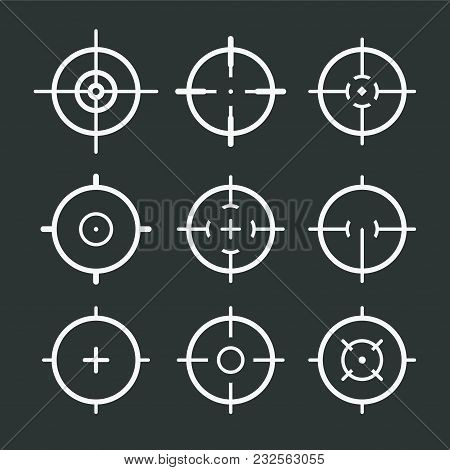 Different Icon Set Of Targets And Destination. Target And Aim, Targeting And Aiming. Vector Illustra