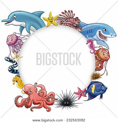Frame Text Circle Design Marine Underwater Animals And Fishes Colorful On A White Background Isolate