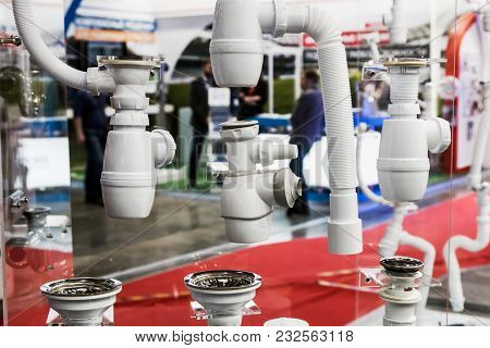 Plastic Pipes And Fittings For Plumbing And Connections. Plumbing Equipment, Fittings, Pipes, Faucet
