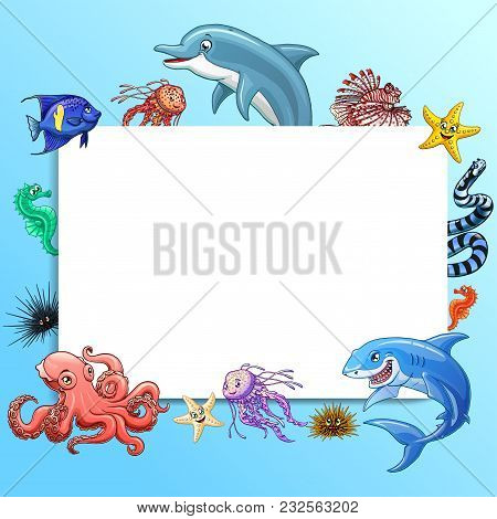 Frame Text Square Design Marine Underwater Animals And Fishes Colorful On A Blue Background Isolated