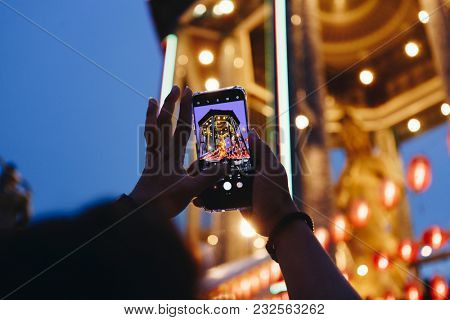 Taking a photo of Chinese lantern festival