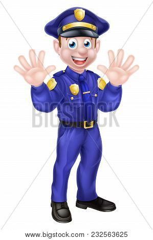 An Illustration Of A Cute Cartoon Policeman Character Mascot Waving With Both Hands Or Saying Stop I