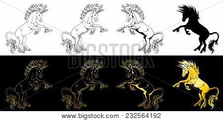 Set The State Proud Unicorns Who Got On Hind Legs Black On White And Gold On Black Line-art And Silh