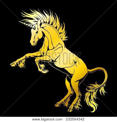 The State Proud Unicorn Who Got On Hind Legs Gold Silhouette On Black Background. Magical Horse Anim