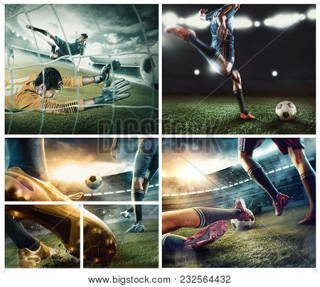 The Collage About Football Player In Motion On The Field Of Stadium With Lights. The Professional Fo