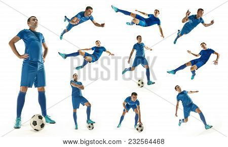 Professional Man - Football Soccer Player With Ball Isolated White Studio Background. Collage With O