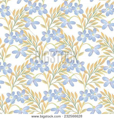 Seamless Pattern With Gouache Painted Flowers Creative Floral Illustration In Collage Style