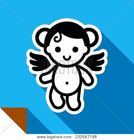 Angel Or Cupid On A Color Square