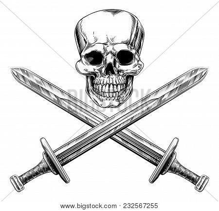 A Human Skull And Crossed Swords Pirate Style Sign In A Vintage Woodblock Style