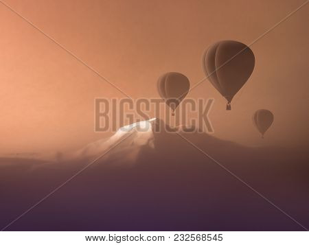 Hot Air Balloon Flight High In Mountains. Concept Extreme Sports. Copy Space