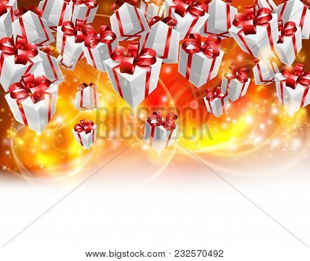 Abstract Gifts Or Presents Christmas Or Birthday Header Red, Orange And Yellow Background. Fades To