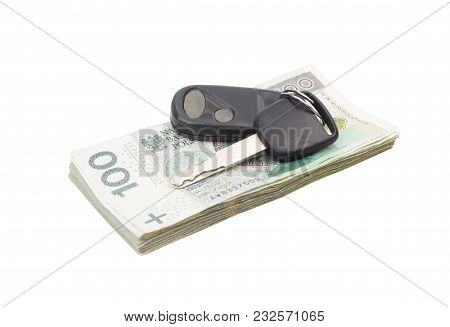Car Keys And A Lot Of Money. Keys And Cash, Car Purchase.