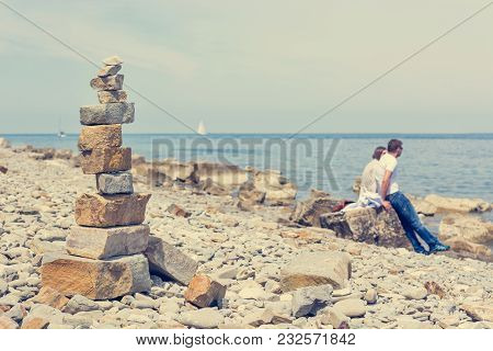 Pebbles Zen Tower At Sea Shore. Stability And Nature Meditation.