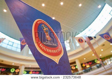 KALININGRAD, RUSSIA - CIRCA MARCH, 2018: close up shot of 2018 FIFA World Cup sign at Europe shopping center