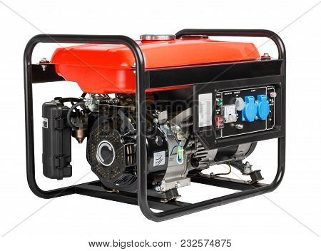 Generator Ac - Motor Portable. Portable Gasoline Generator. Isolated White Background.