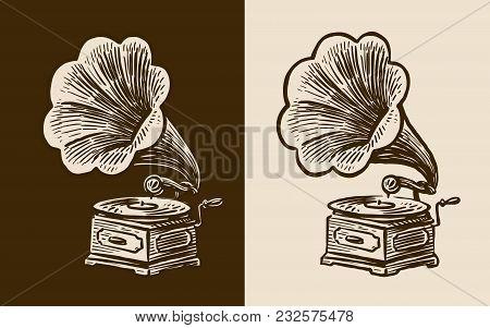 Gramophone Sketch. Retro Music, Nostalgia Vintage Vector