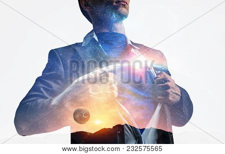 Super businessman and space in his chest