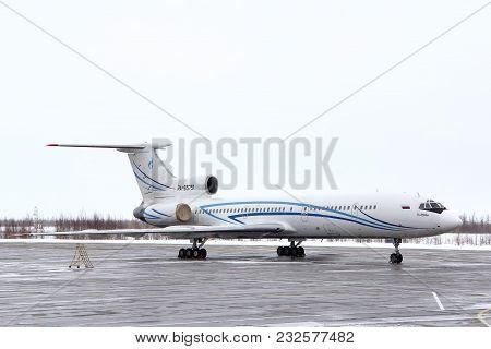 Novyy Urengoy, Russia - April 16, 2013: Gazprom Avia Tupolev Tu-154m In The Air Field Of The Novyy U