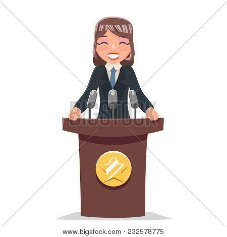 Woman Politician Tribune Performance Female Businessman Cute Cartoon Character Design Vector Illustr