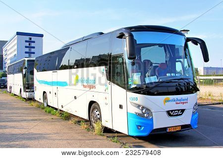 Berlin, Germany - July 20, 2014: Touristic Coach Bus Vdl Futura In The City Street.