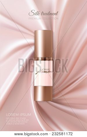 Advertising Poster For Cosmetic Product For Catalog, Magazine. Vector Design Of Cosmetic Package. Ad