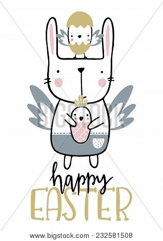 Card With Calligraphy Lettering Happy Easter With Angel Bunny And Newborn Nestling. Vector Illustrat