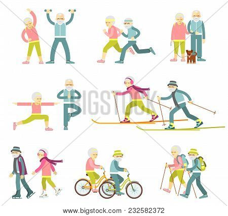 Old People In Different Poses, Gestures And Actions. Healthy Lifestyle For Elderly.