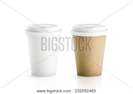 Blank White And Brown Disposable Paper Cups With Plastic Lid Mock Up Isolated, 3d Rendering. Empty P