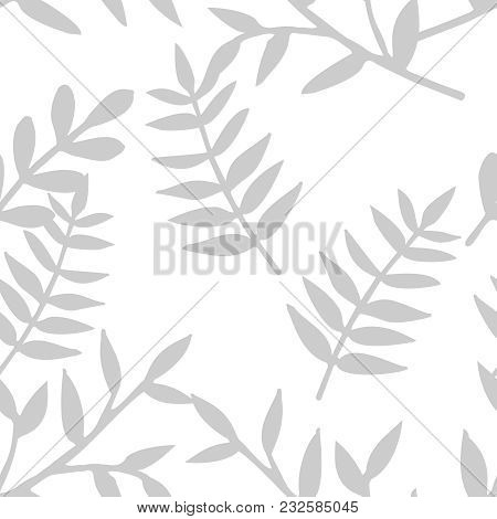 Tile Tropical Vector Pattern With Grey Exotic Leaves On White Background