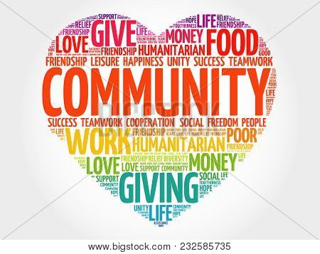 Community Word Cloud Collage, Heart Concept Background