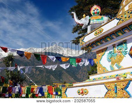 India, Kalaczakra Temples In Dharamsala, Mcleod Ganj. View No The Himalaya Mountains