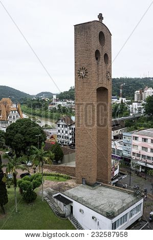 Cathedral Blumenau Clock Tower City Downtown Brazil