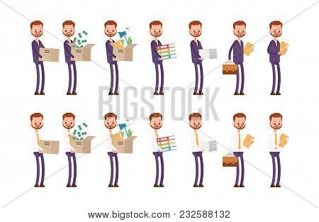 Carries Boxes, Gets A Job, Carries Money, Documents. Businessman. Cartoon Character Set