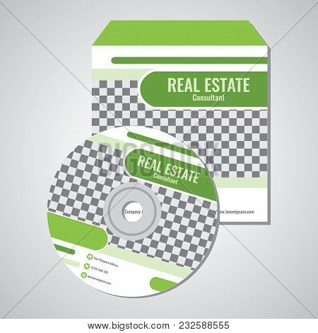 Real Estate Business Cd Promotion Cover Template Vector Design With Green Abstract Color Illustratio