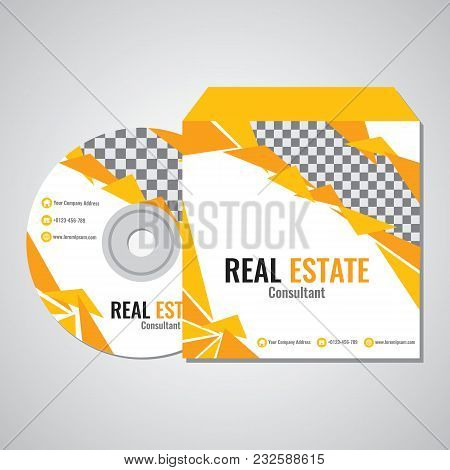 Real Estate Business Cd Promotion Cover Template Vector Design With Yellow Triangle Abstract Color I
