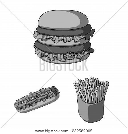 Fast Food Monochrome Icons In Set Collection For Design.food From Semi-finished Products Vector Symb