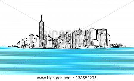 New York City Skyline Seen From New Yersey. Vector Outline Illustration For Marketing Design