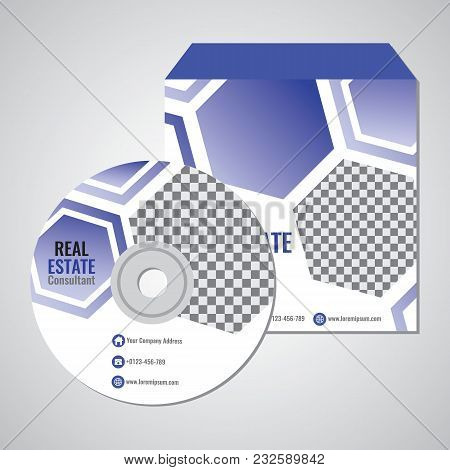 Real Estate Business Cd Promotion Cover Template Vector Design With Hexagonal Abstract Indigo Color