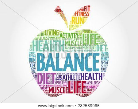 Balance Apple Word Cloud Collage, Health Concept