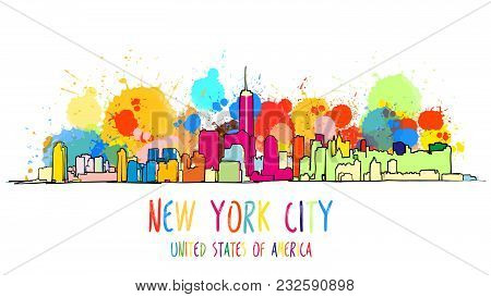 Colorful New York City Skyline Drawing. Vector Outline Version For Digital Product And Travel Market