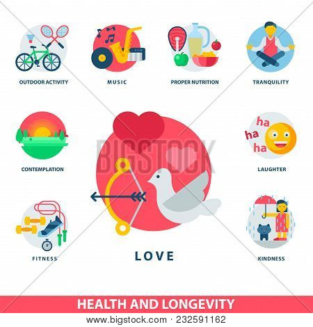 Health Concept And Longevity Icons Modern Activity Durability Vector Natural Healthy Life Product Co