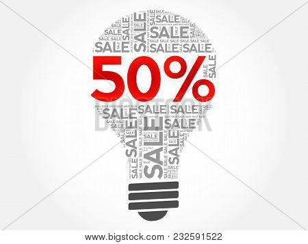 50 Percent Sale Bulb Word Cloud, Business Concept Background