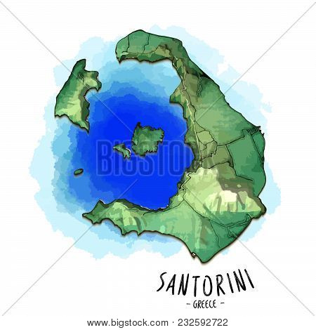 3d Map Of Santorini. Detailed Vector Illustration With Blue Lagoon Water. Isolated Concept For Infog