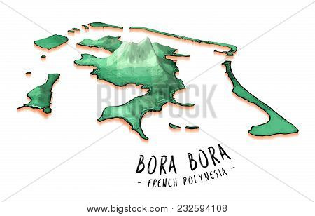 Map Concept Of Bora Bora. Detailed Vector Illustration. Isolated Concept For Infographic And Marketi