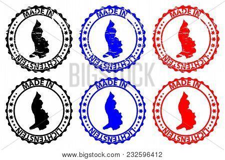 Made In Lichtenstein - Rubber Stamp - Vector, Lichtenstein Map Pattern - Black, Blue And Red