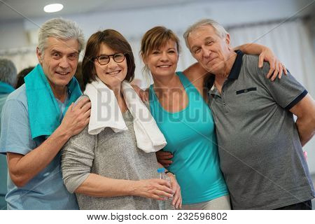 Group of senior people in fitness outfit