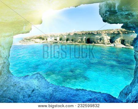 Cave Grotto Rocky Coast In The Mediterranean Sea Landscape On Cyprus Island
